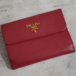 Prada Rose Pink Saffiano Leather Wallet